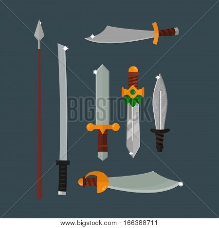 Knife weapon dangerous metallic collection. Vector illustration of sword spear edged set. Combat andbonder bayonet cold protection or attack steel arms.