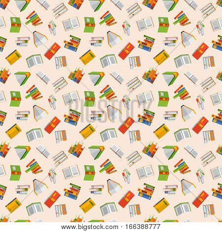 Books seamless pattern in flat design style vector illustration. Academic learning symbol reading school sign. Knowledge design isolated science university text cover literature.