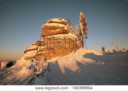 Colorful frosty morning on Mount Dreisessel in Germany. Golden morning landscape lighting