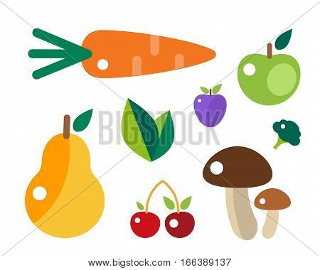 Set of colorful cartoon fruit icons vector illustration. Exotic group diet vegetarian food mix natural fresh design. Healthy sweet summer nutrition.