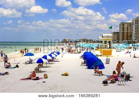 Clearwater, FL - April 21: People on Clearwater beach in Florida