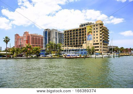Clearwater, FL - April 21: Waterfront hotels at Clearwater beach marina in Florida