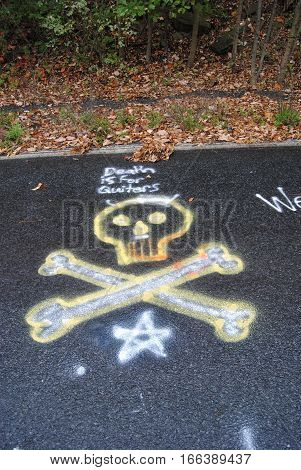 Skull and crossbones spray painted on road with dead leaves in background
