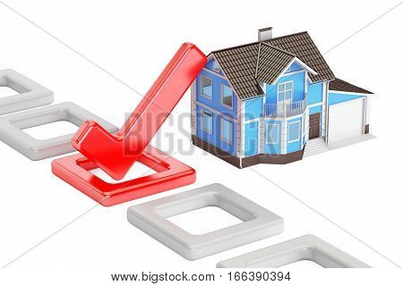 Home choice concept with check mark 3D rendering isolated on white background