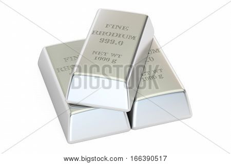 rhodium ingots 3D rendering isolated on white background