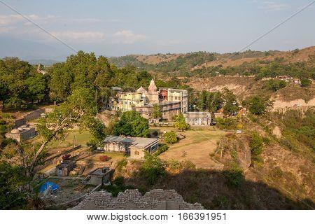 Kangra Fort, beautiful views from the high walls. Himachal Pradesh, district of Kangra, India.