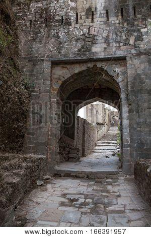 The Kangra Fort, the Main entrance gate. Himachal Pradesh, district of Kangra, India.