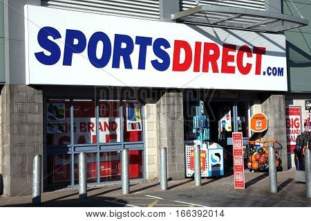 Carmarthen, Wales, UK, January 2, 2017 : Sports Direct clothing store in the city centre during it's sale season