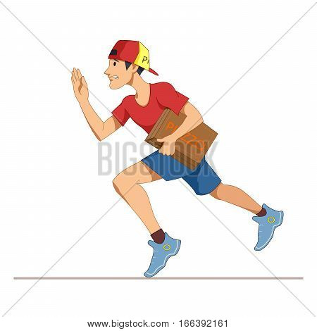 Express courier delivery of pizza. A young man in a working form, and a cap. Cartoon Character isolated on a white background. Vector, illustration EPS10