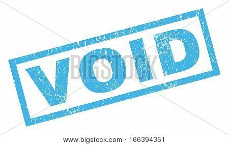 Void text rubber seal stamp watermark. Tag inside rectangular shape with grunge design and dust texture. Inclined vector blue ink sticker on a white background.
