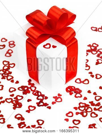 Valentines Day gift box and greeting card isolated on white