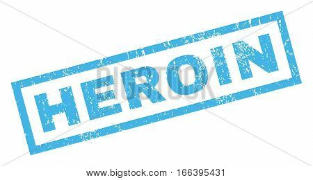 Heroin text rubber seal stamp watermark. Tag inside rectangular shape with grunge design and dirty texture. Inclined vector blue ink sticker on a white background.