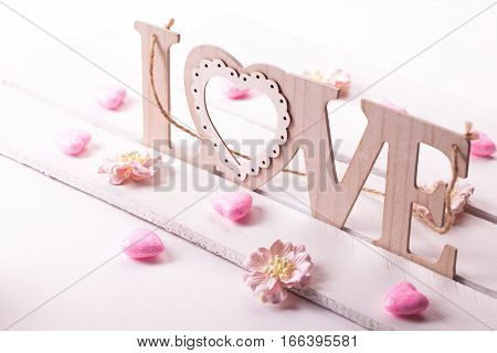love letters on wooden background. St Valentines day conception