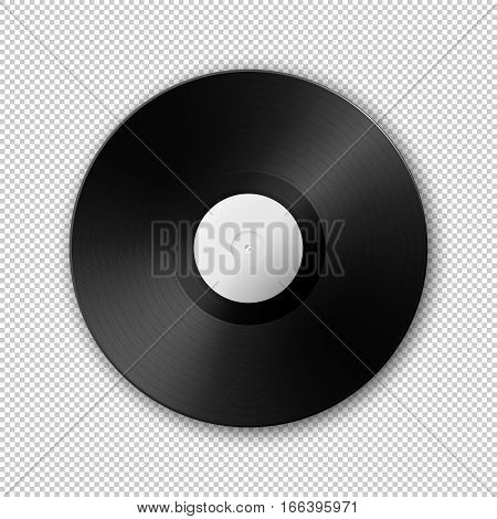 Realistic vector music gramophone vinyl LP record icon. Design template of retro long play. Vector EPS10 illustration.