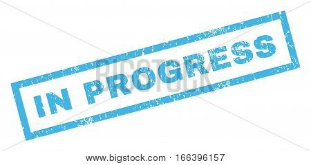 In Progress text rubber seal stamp watermark. Caption inside rectangular banner with grunge design and dust texture. Inclined vector blue ink sticker on a white background.