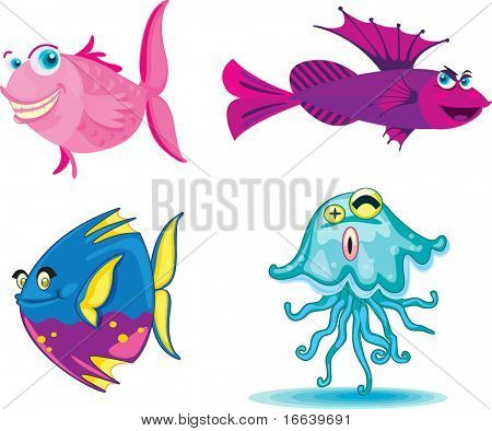 illustration of various fishes on white