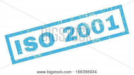 ISO 2001 text rubber seal stamp watermark. Caption inside rectangular shape with grunge design and scratched texture. Inclined vector blue ink sign on a white background.