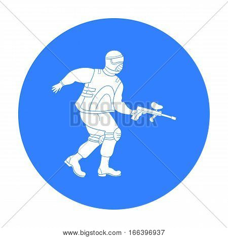 Paintball player icon in outline design isolated on white background. Paintball symbol stock vector illustration. - stock vector