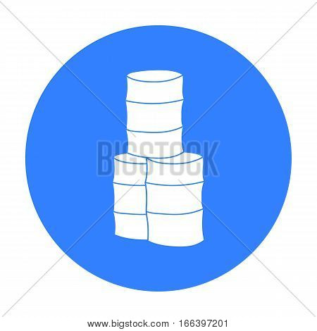 Barricade from barrels icon in outline design isolated on white background. Paintball symbol stock vector illustration. - stock vector