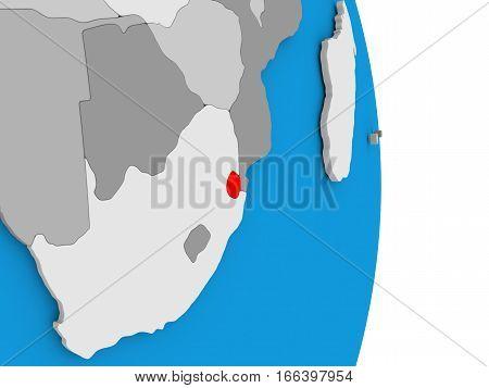 Swaziland On Globe