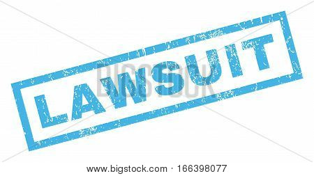 Lawsuit text rubber seal stamp watermark. Caption inside rectangular banner with grunge design and dust texture. Inclined vector blue ink sticker on a white background.