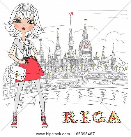 Cute beautiful fashion girl in Old Town, Riga, Latvia