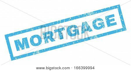 Mortgage text rubber seal stamp watermark. Tag inside rectangular shape with grunge design and unclean texture. Inclined vector blue ink emblem on a white background.