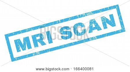 MRI Scan text rubber seal stamp watermark. Caption inside rectangular shape with grunge design and dust texture. Inclined vector blue ink sticker on a white background.