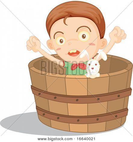 illustration of boy sitting in a basket