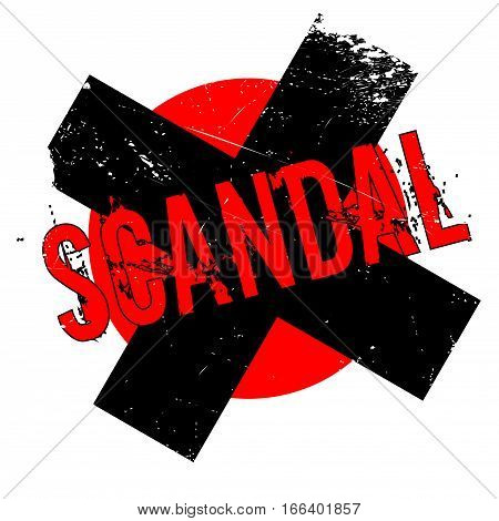 Scandal rubber stamp. Grunge design with dust scratches. Effects can be easily removed for a clean, crisp look. Color is easily changed.