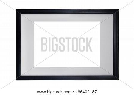 Black wooden frame isolated on white background.