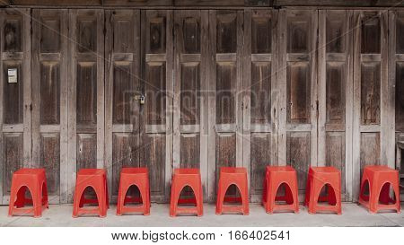 The Red chairs in the old market