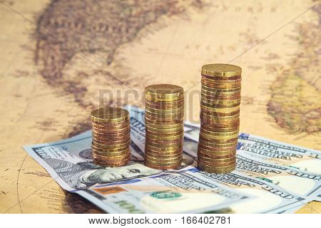 Business Finance And Money Concept, Coin Growing Graph
