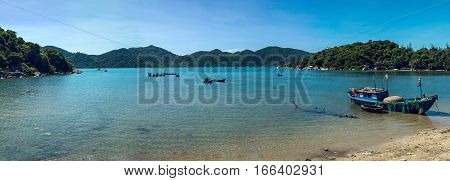 Panorama Of Fishing Boats In The Sea, Vietnam