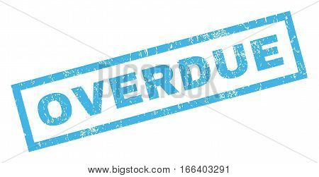 Overdue text rubber seal stamp watermark. Tag inside rectangular banner with grunge design and dust texture. Inclined vector blue ink sign on a white background.