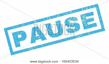Pause text rubber seal stamp watermark. Tag inside rectangular shape with grunge design and scratched texture. Inclined vector blue ink emblem on a white background.