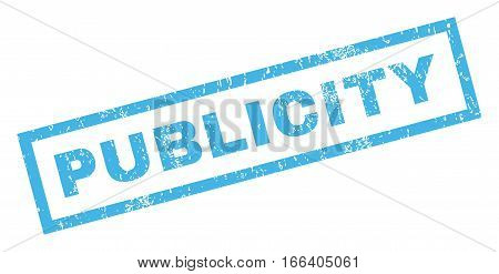 Publicity text rubber seal stamp watermark. Tag inside rectangular shape with grunge design and dirty texture. Inclined vector blue ink sticker on a white background.