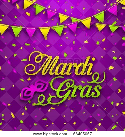 Illustration Mardi Gras Lettering Background, Invitation for Fat Tuesday, Poster in Traditional Colors - Vector