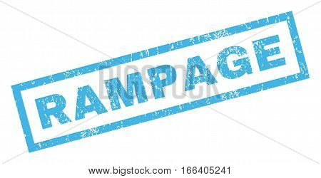 Rampage text rubber seal stamp watermark. Tag inside rectangular shape with grunge design and unclean texture. Inclined vector blue ink sticker on a white background.