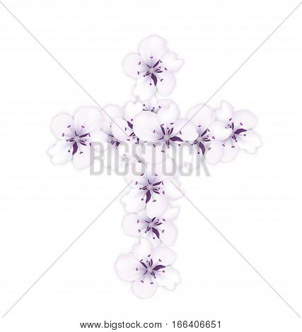 Blossoming bouquet sakura blue flowers in shape Catholic cross holiday Easter - vector