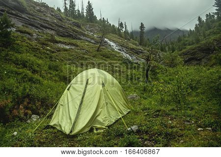 Camping With Tents In The Mountain Forest