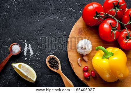 concept composing recipe on dark background top view.