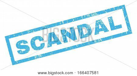 Scandal text rubber seal stamp watermark. Tag inside rectangular banner with grunge design and dust texture. Inclined vector blue ink sticker on a white background.