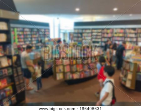 Blur background image of a bookstore .