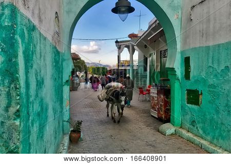 Quezzane, Morocco, January 17, 2017: A gate in the green city of Ouezzane in Morocco.