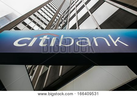 New York, June 27, 2016: A sign at one of the locations of Citibank. Citibank is one of major financial institutions that offers retail services in New York City.