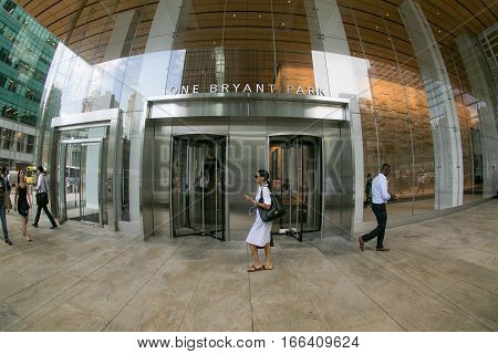 New York, August 12, 2016: Main entrance to the Bank of America tower at One Bryant Park.