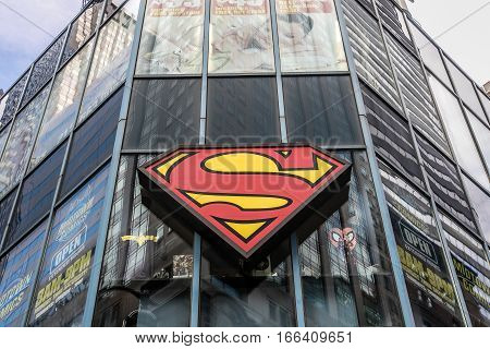New York, August 2, 2016: A large Superman symbol mounted to a building where Midtown Comics store is located.