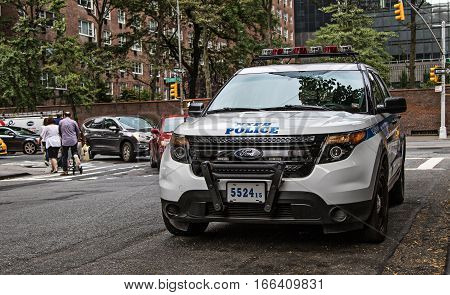 New York, September 7, 2016: An NYPD vehicle is parked in the street.