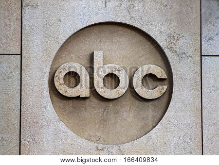 New York, August 30, 2016: The ABC company logo on the ABC office building in Manhattan.